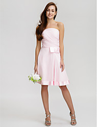 Lanting Bride® Knee-length Chiffon Bridesmaid Dress - A-line Strapless with Bow(s) / Criss Cross