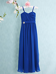 Floor-length Chiffon Junior Bridesmaid Dress Sheath / Column Spaghetti Straps with Crystal Detailing / Criss Cross
