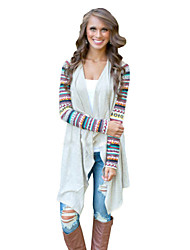 Women's Patchwork Beige Shirt , Cowl Long Sleeve