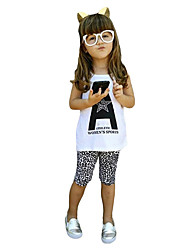 Fashion Kids Baby Girls Two-Piece Set Letter Pattern Vest Sleeveless T-Shirt Leopard Print Shorts Trousers Outfits