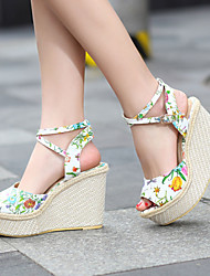 Women's Shoes Heel Wedges / Heels / Peep Toe / Platform Sandals / Heels Outdoor / Dress / Casual White / Silver / Gold