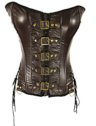 Women Overbust Corset , Patent Leather Up