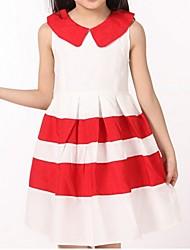 Robe Fille de Eté / Printemps Coton Noir / Rouge