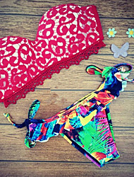 Women's Bandeau Bikinis , Color Block Padded Bras Lace / Spandex Red