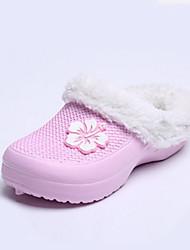 Zapatos de mujer-Tacón Plano-Punta Cerrada / Zapatillas-Pantuflas-Casual-Látex-Rosa / Morado / Rojo
