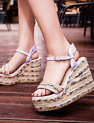 Women's Shoes Heel Wedges / Heels / Peep Toe / Platform Sandals / Dress / Casual Black / Green / Purple/6688