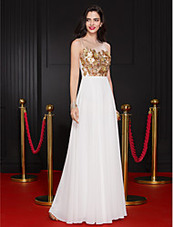 TS Couture Prom Formal Evening Dress - See Through Sheath / Column Jewel Floor-length Chiffon with Flower(s) Sequins