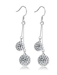 Lureme®  Korean Fashion 925  Sterling Silver Crystal Tassels Water Drop Shambhala Earrings