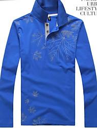 Men's Long Sleeve Polo , Cotton Casual Print