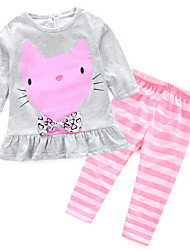 Girl's Clothing Set,Cotton Spring Pink