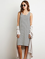 Women's Striped Sleeveless Irregular Dress