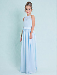 Floor-length Chiffon Junior Bridesmaid Dress-Sky Blue Sheath/Column Halter