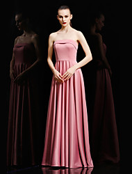 Ball Gown Strapless Floor Length Satin Formal Evening Dress with Pleats