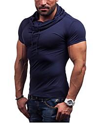 男性用 プレイン カジュアル Tシャツ,半袖 コットン,ブルー / ブラウン / グレー