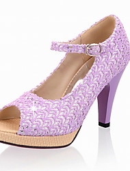 Women's Shoes Sequin Peep Toe / Platform Sandals Wedding / Office & Career / Party & Evening / Dress Purple/Pink/Beige