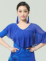 High-quality Viscose with Draped Ballroom Dance Tops for Women's Performance(More Colors)