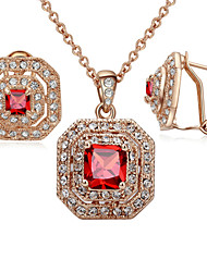 HKTC Classic 18k Rose Gold Plated Red Square Crystal Vintage Ruby Necklace and Earrings Bridal Jewelry Sets
