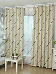 Dois Painéis Moderno Riscas Verde Quarto Poliéster Blackout Cortinas cortinas