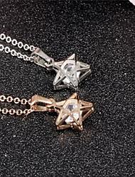 Feminino Colares com Pendentes Estrela imitação de diamante Jóias de Luxo Prata Ouro Rose Jóias Para Festa