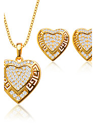 Heart-Shaped Hollow Out Zircon Pendant Necklace Earrings Set 18K Gold Plated Womans Jewelry Sets S20090