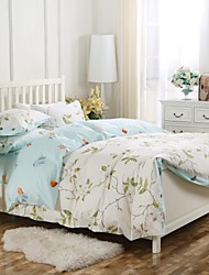 Simple Opulence 100% Cotton Wood Button Floral Printed King Queen Beige Blue Duvet Cover Set