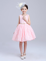 A-line Knee-length Flower Girl Dress - Lace / Satin Sleeveless