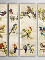 Oil Painting Landscape Birds in the Tree Set of 4 Hand Painted Canvas with Stretched Framed Ready to Hang