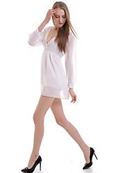 Women's V Neck  Backless Long Sleeve Chiffon Dress