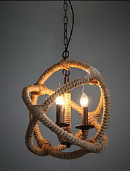 Retro 3 Lamp Hemp Rope Chandelier Retro Country Style