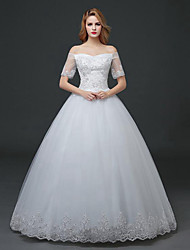 A-line Wedding Dress - White Floor-length Off-the-shoulder Lace