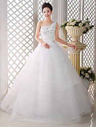A-line Wedding Dress-Floor-length One Shoulder Lace / Satin