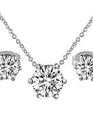 HKTC Classic 18k White Gold Plated with 6 Prongs Clear Simulated Diamond Pendant Necklace and Earrings Set