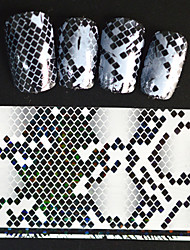 5pcs 20*4cm 2016 New Japanese White  Series Nail Art Overlapping Lozenge Image Foils DIY Nail Sticker STZ Jw16