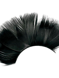 Popular Stage Artistic Exaggeration Handmade Black Feather False Eyelashes  For Party Dance Halloween Party Costume