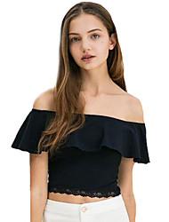 Damen Solide Retro Lässig/Alltäglich T-shirt,Bateau Frühling Kurzarm Blau Polyester Mittel