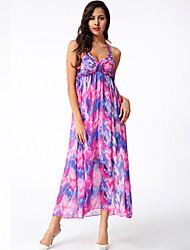 Women's Sexy / Boho Print Swing Dress , Halter Maxi Polyester