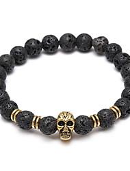 Skull Head Buddha Beads Energy Volcano Stone Bracelet