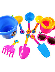 9-Pieces Beach Sand Toys Set with Bucket, Water Pot, Glass toy and 6 Hand Tools