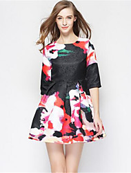 Women's Street chic A Line Dress,Floral Round Neck Above Knee ½ Length Sleeve Multi-color Polyester Spring