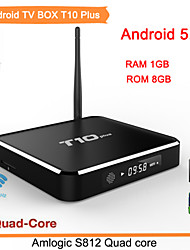 wifi TV set top box Kodi Full HD 1080p bluetooth 4.0 quad core Cortex A9 de smart tv box t10, más de 2 g / 8g cuadro 5.1 androide de la TV