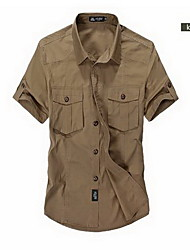 Men's Solid Casual Shirt,Cotton Short Sleeve Green / Beige / Tan