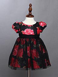 Girl's Black Dress , Floral Cotton Summer