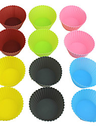 Silicone Muffin Cup Round Cake Mould Cupcake Wrappers 12PCS