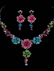 AAA Zircon Gem Flower Shape Necklace & Earrings Jewelry Set