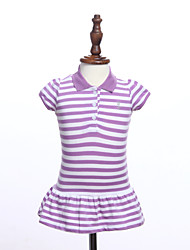 Girl's Blue / Green / Red Clothing Set , Stripes Cotton Summer