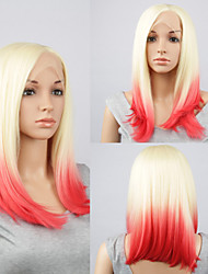 Fashion Synthetic Wigs Lace Front Wigs A Short Straight  Yellow And Red Heat Resistant Hair Wigs Women