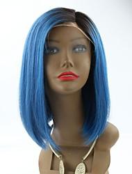 Joywigs Short Bob Human Hair Lace Front Wigs Ombre Wigs Blue Human Hair Wigs