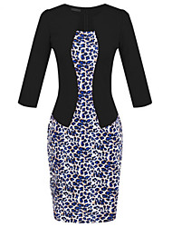 Women's Sexy / Work / Casual / Day Floral Sheath Dress , Round Neck Knee-length Polyester