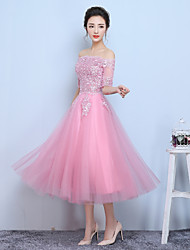Formal Evening Dress A-line Bateau Tea-length Tulle with