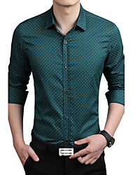 Men's Fashion Business Casual Printing Slim Fit Long Sleeved Shirt